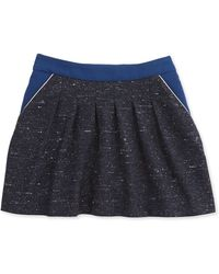Chloé Tweed Skirt W Crepe-trim - Lyst