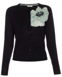 Paul Smith Women's Black 'anemone Floral' Placement Wool Cardigan black - Lyst