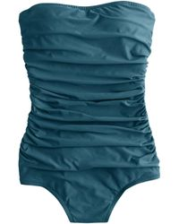 J.Crew D-Cup Ruched Bandeau One-Piece Swimsuit blue - Lyst