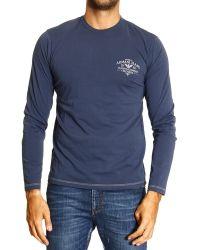 Armani Jeans Tshirt Long Sleeve Crewneck Logo Back - Lyst