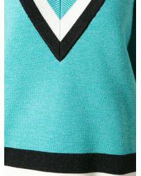 Jonathan Saunders Stripe Detail V-Neck Sweater - Lyst