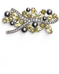 St. John - Swarovski Crystal & Glass Pearl Brooch - Lyst