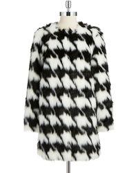 MICHAEL Michael Kors Houndstooth Faux Fur Coat - Lyst