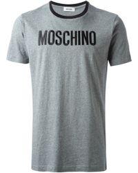 Moschino Gray Logo T-shirt - Lyst