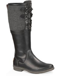 Ugg Elsa Leather and Wool Blend Boots - Lyst