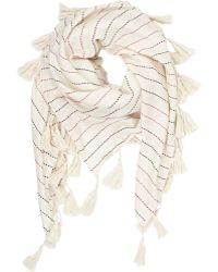 Barneys New York Stripe Oversize Square Scarf white - Lyst