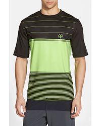 Volcom 'Sub Stripe' Short Sleeve Rashguard green - Lyst