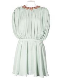 Valentino Embroidered-Collar Silk Dress green - Lyst