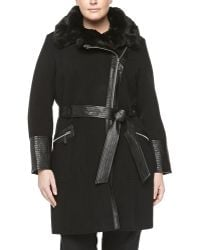 Via Spiga Felt Faux-fur Collar Coat Black - Lyst