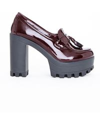 Missguided Rachel Cleated Sole Platform Loafers Oxblood - Lyst