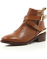 River Island Brown Leather Low Heeled Cut Out Ankle Boots - Lyst