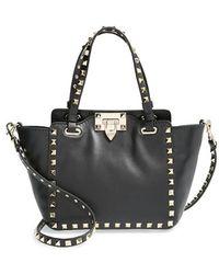 Valentino 'Micro Mini Rockstud' Leather Tote - Lyst