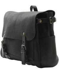 Bleu De Chauffe Black Postman Leather Bag - Lyst