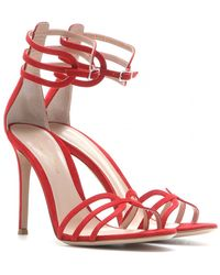 Gianvito Rossi Suede Sandals red - Lyst