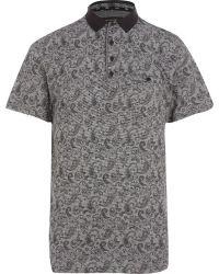 River Island Black Paisley Print Polo Shirt - Lyst