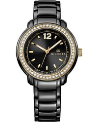 Tommy Hilfiger Womens Black Ion-plated Stainless Steel Bracelet Watch 36mm - Lyst
