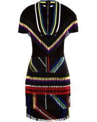 Preen Ted Satin and Fringe Saada Dress in Black - Lyst