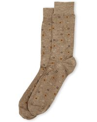 Robert Talbott Micro Squares Crew Socks - Brown