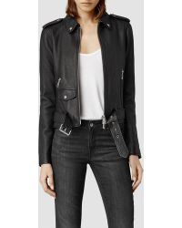 AllSaints Raven Leather Biker Jacket - Lyst