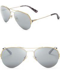 Tory Burch Modern Serif T Mirrored Aviator Sunglasses - Lyst