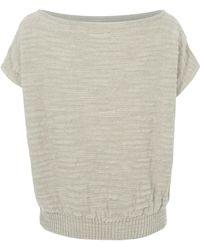 Sarah Pacini - Neutral Wide Neck Boxy Sleeveless Knit Jumper - Lyst