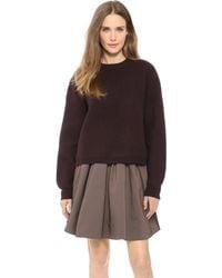Acne Studios Misty Boiled Wool Zip Sweater Dark Brown - Lyst