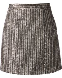 Saint Laurent Gold Metallic Skirt - Lyst