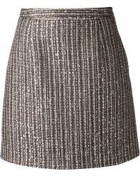 Saint Laurent Woven Mini Skirt - Lyst