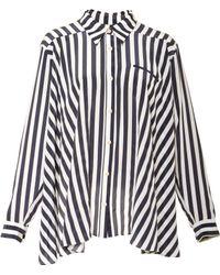 Kaelen Stripe Pleat Back Button Down - Lyst
