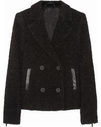 Karl Lagerfeld Hadley Leathertrimmed Bouclé Peacoat - Lyst