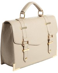 Asos Satchel Bag With Metal Keepers And Chunky Corners - Lyst