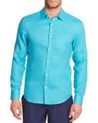 Original Penguin Solid Linen Sportshirt blue - Lyst