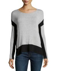 Red Haute Long-Sleeve Colorblock Sweater - Lyst