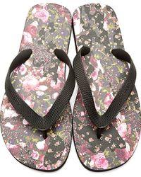 Givenchy Black Rose Print Slip_on Sandals - Lyst
