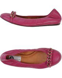 Lanvin Purple Ballet Flats - Lyst