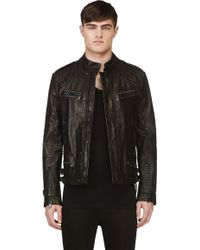 Diesel Black Gold Black Studded Leather Jacket - Lyst