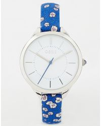 Oasis - Blue Floral Watch - Lyst