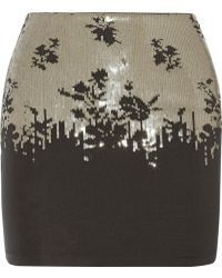 La Perla Ombre Floral Sequined Stretch-jersey Skirt - Lyst