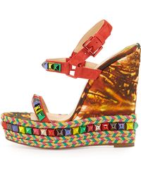 Christian Louboutin Cataclou Studded Suede & Printed Leather Red Sole Espadrille - Lyst