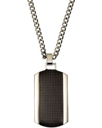 Blackjack - Hematite-Tone & Silver-Tone Dog Tag Pendant Necklace - Lyst