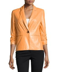 Lafayette 148 New York Ruched Sleeve Leather Jacket - Lyst