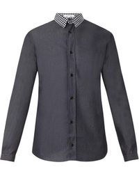 Carven Contrast-collar Denim Shirt - Lyst