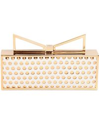 Sara Battaglia Lady Me Perforated Leather Clutch white - Lyst