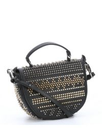 Christian Louboutin Black Leather 'Panettone' Studded Shoulder Bag - Lyst