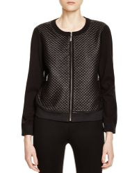 Finity - Quilted Faux Leather Bomber Jacket - Lyst