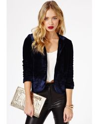 Missguided Lucinde Velvet Blazer in Navy - Lyst