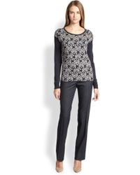 Peserico Knit Floral Sweater - Lyst