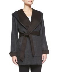 Sofia Cashmere Reversible Wool Belted Coat gray - Lyst