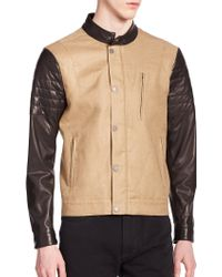 Kent And Curwen Leather-Sleeve Bomber Jacket - Lyst