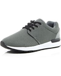 River Island Grey Mesh Thick Sole Trainers - Lyst